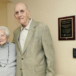 Recently retired nephrologist William Stone, MD, here with his longtime assistant Darlene Anderson, at the Nashville Veterans Affairs hospital's dialysis unit, which was renamed in Stone's honor. (photo by Donn Jones)
